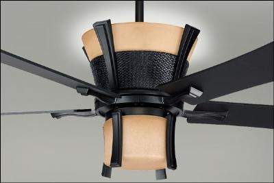 Asian-inspired ceiling fan with a matte black finish!