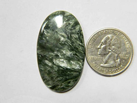 40x24 mm Arresting Seraphinite Loose Gemstone Oval Shape