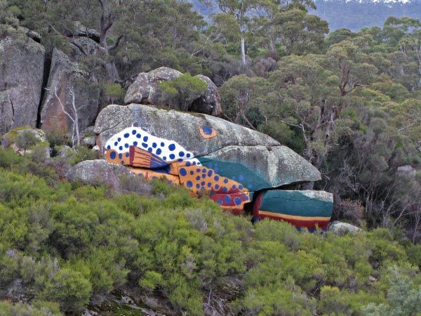 Fish Rock, Derby. Rotary Dorset Arts Festival, Scottsdale. Article by Len Langan for Think Tasmania.