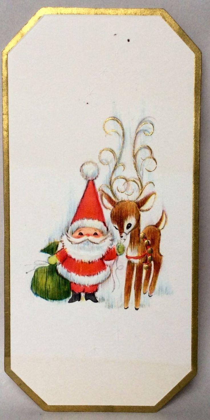 Santa Clause Reindeer Embossed 1960's-1970's Vintage Christmas Greeting Card in…