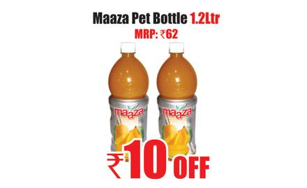 Rs 10 off on maaza pet bottle 1.2 ltr. Valid only at Heritage Fresh Outlets in Chennai.