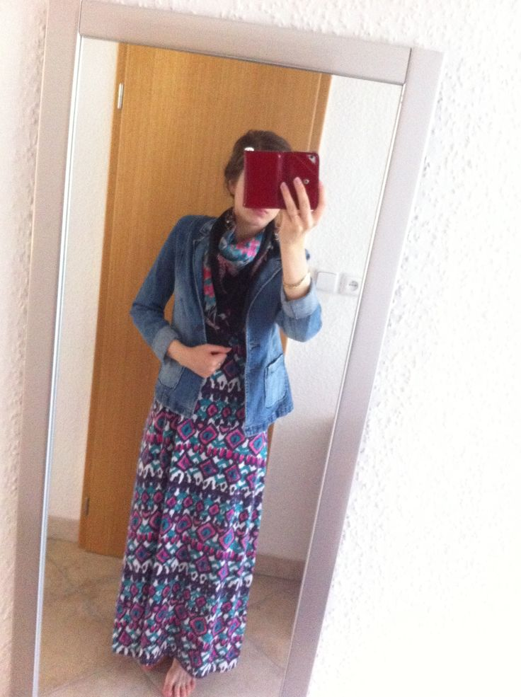 Maxi dress, jeans jacket, silk scarf. Enjoy Yourself
