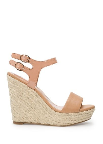 Espadrille wedge sandals simple guilt-free purchase for something I would wear all the time! $39. Nude simple ankle strap open toe wedge.