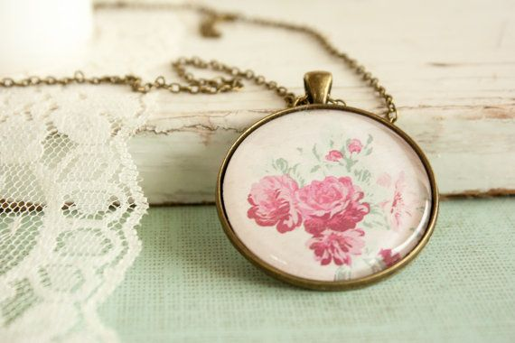 Floral Pendant Round Glass Flower Pendant by BeautyfromashesUSA