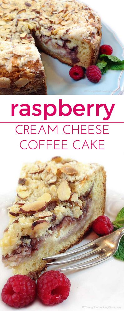 Raspberry Cream Cheese Coffee Cake: Almond cake, cream cheese filling, raspberry preserves and toasted almond crumb topping. Heaven!
