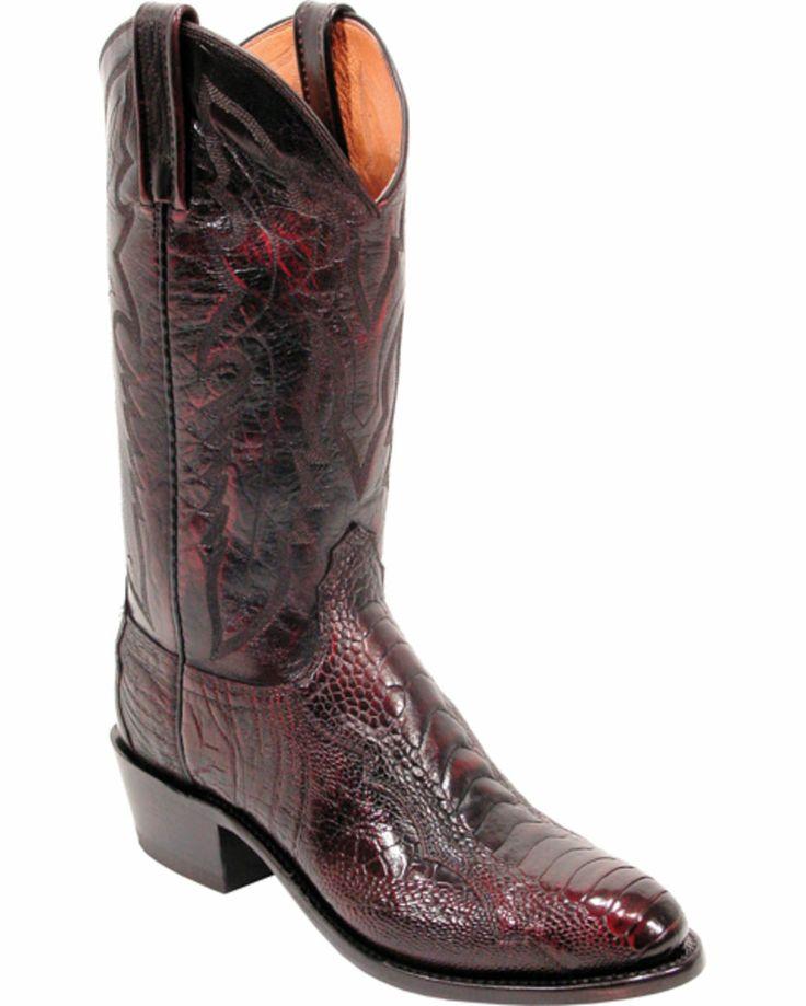 Lucchese Men S Black Cherry Ostrich Leg Cowboy Boots