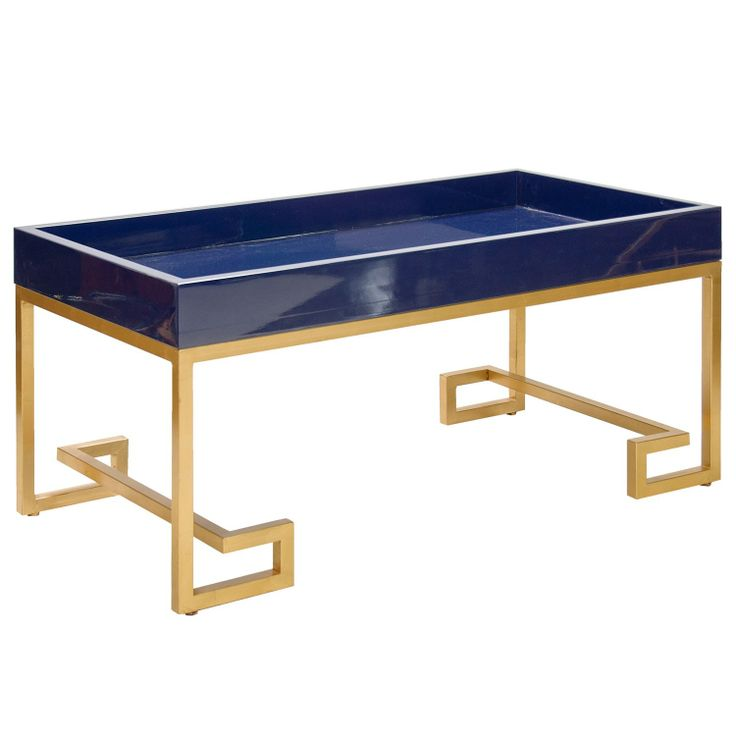 Worlds Away Conrad Navy Lacquer Tray With Gold Leafed Greek Key Base    Midcentury   Coffee Tables   Matthew Izzo