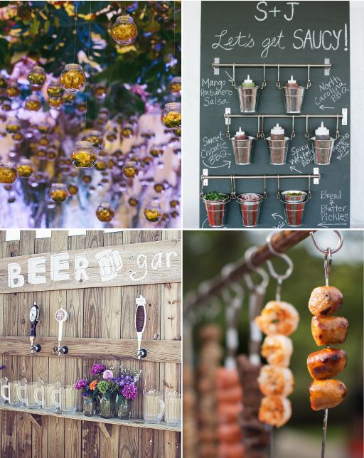 Foodie Installations  Food and drink are taking center stage at weddings this year in an outrageous way. We're talking hanging salad stations, doughnut dessert walls that double as escort cards and beer-garden-inspired stations, complete with beer steins made of ice. You could ask your caterer to help you come up with creative ideas or follow what a few innovative couples' lead and actually hire a food stylist to dream up something over-the-top.