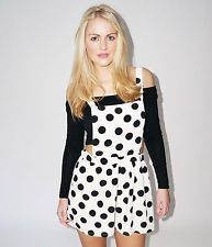 POLKA DOT PLAYSUIT IN CREAM/BLACK DOTS WITH PINAFORE STRAPS SIZES 8 10 12 14