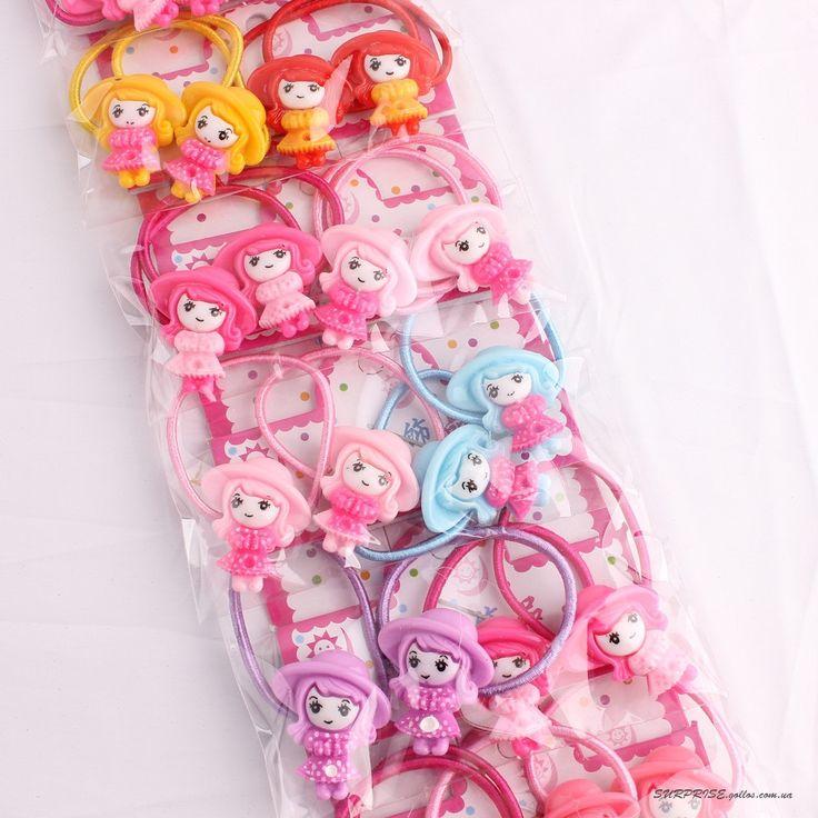 Детские резинки для волос разноцветные с фигурками (4шт в упаковке) в наличии