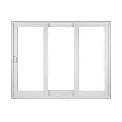 Simonton white 3 panel french rail sliding patio door with for Sliding french doors home depot