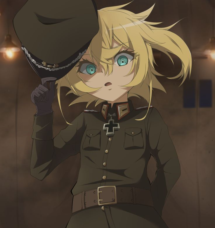 youjo senki tanya degurechaff usamimi (usamimiok) usamimiok 1girl arm behind back belt blonde colored eyelashes eyebrows visible through hair female gloves green eyes hair between eyes hat holding hands loli looking at viewer military military uniform open mouth short hair solo standing uniform