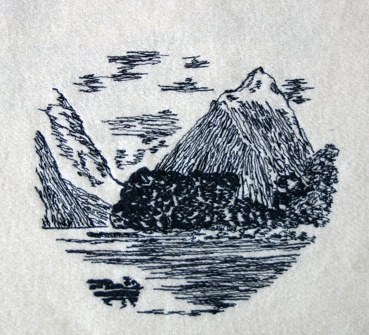 https://flic.kr/p/fPqbmX | freehand machine embroidery Mitre Peak | A freehand machine drawing of Mitre peak taken from the 1935 pictorial stamp. This is a lovley drawing which I have redrawn using my sewing machine. It is going to be on the front of cushions in my online store.
