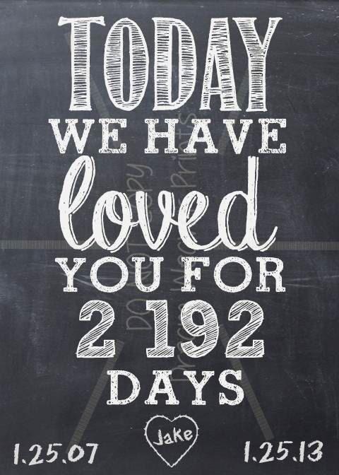 Love Anniversary Birthday Printable Chalkboard Art