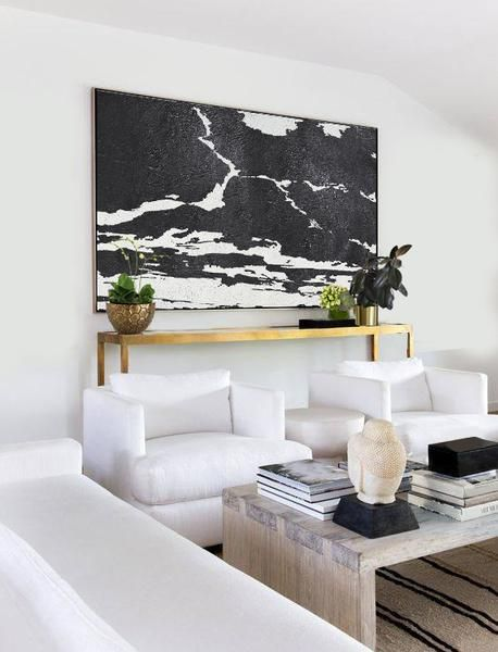 CZ Art Design - Hand painted oversized Horizontal Minimalist Abstract Sky, black and white abstract landscape canvas art. Perfect for contemporary homes and neutral interiors. #MN4C