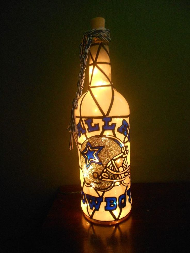 Hand Painted Lighted Wine Bottle Cowboys Design
