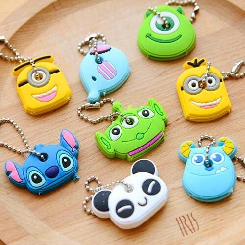 2pcs/lot Cute Anime Cartoon Silicone Stitch Minion Key Cover For Women Key Caps Keychain Key Chain Key Ring Key Holder Gift