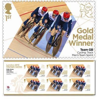 Gold Medal Winner stamp - Chris Hoy, Philip Hindes, Jason Kenny, Cycling, Men's Team Sprint
