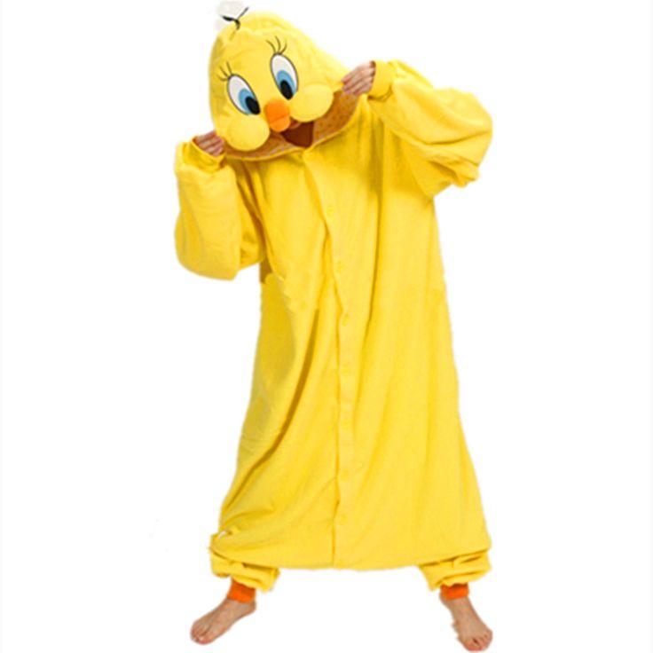 ==> [Free Shipping] Buy Best Anime Onesie Pajamas Yellow Tweety Duck TweetyBird Tweety bird Cosplay Costume Adult Pyjamas Hoodies Party Dress Online with LOWEST Price | 32745118493