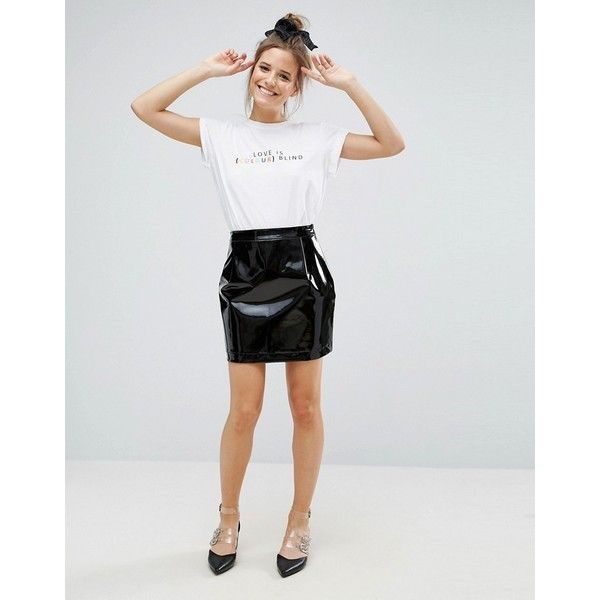 ASOS Vinyl A Line Mini Skirt ($32) ❤ liked on Polyvore featuring skirts, mini skirts, black, high waisted a line skirt, mini skirt, high waisted short skirts, tall skirts and asos