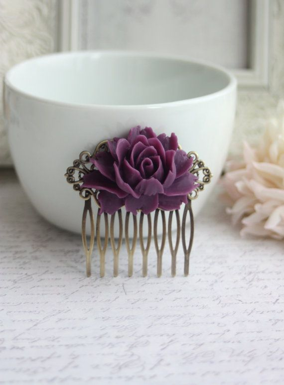 Purple Amethyst Rose Flower Antiqued Brass Hair Comb by Marolsha