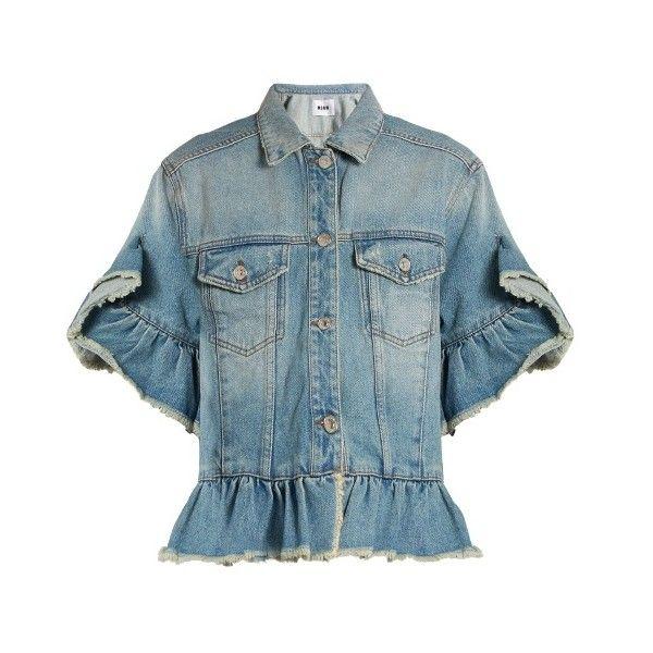 MSGM Ruffle-trimmed denim jacket ($265) ❤ liked on Polyvore featuring outerwear, jackets, denim, short sleeve jean jacket, short-sleeve jackets, short sleeve shrug cardigan, distressed jean jacket and short sleeve jacket