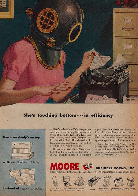 She's touching bottom...in efficiency. #vintage #office #1950s #secretary #typewriter #ads