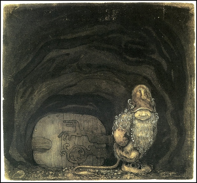By John Bauer.  Yeah, I know it's a drawing of a door - but the hinges!  Love them.