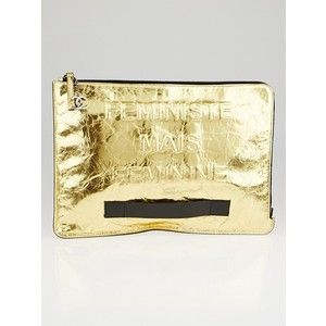 Pre-owned Chanel Gold Crinkled Leather Feministe Large Clutch Bag