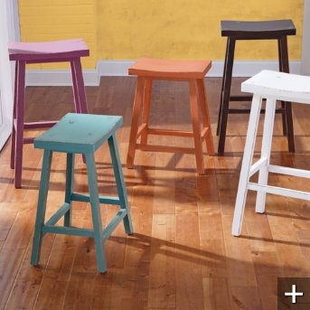 Love these colors. Maybe paint ours orange or teal for the kitchen?