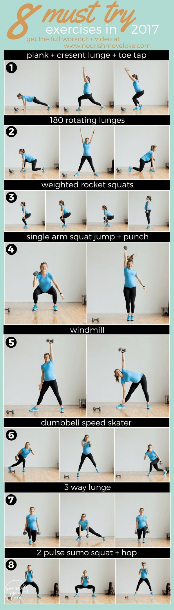 8 must try exercises in 2017. 8 exercise workout plan that challenges the whole body. Plank, lunge, squat, windmill, speed skater, and sumo squat. Get in shape for the summer with this total body workout! Bodyweight or dumbbell exercises. | www.nourishmo