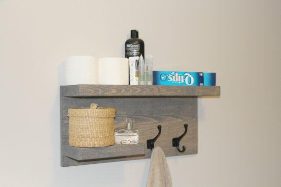 Rustic Modern Bathroom 2 Tier Floating Shelf Towel by GBandWood