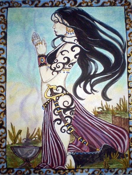 Prayer Offering Sacred Smoke Priestess Print by by AutumnDomoslai, $15.00