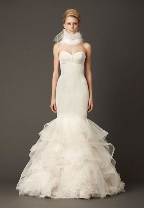 9e0fb26148d97 Vera Wang Fall 2013 Wedding Dress Collection | junebugweddings.com. Love  the ruffles on the bottom would change top print to something plainer ...
