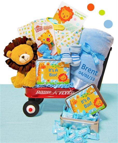 190 best gift baskets wagons images on pinterest baby gift safari themed baby boy wagon negle Images