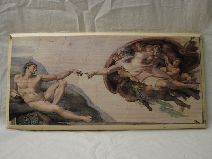 THE CREATION of ADAM, wood board, wood wall art, Handmade wood print. Home decor, Renaissance Art di KnockOnWoodCraft su Etsy