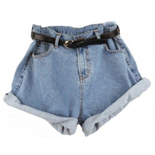 Sheinside Women's Blue High Waist Belt Denim Pant ($15) ❤ liked on Polyvore featuring shorts, bottoms, & - clothing - shorts, clothing and accessories, high-waisted shorts, highwaisted shorts, high rise shorts, highwaist shorts y highwaisted denim shorts
