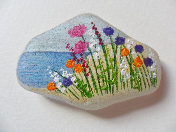 SALE Wildflowers by the sea  Original acrylic miniature
