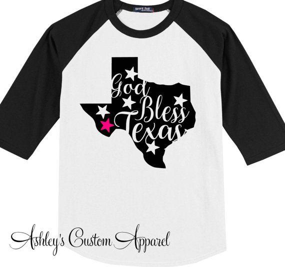 God Bless Texas - Southern Roots - Texas Girl - Southern Raised - Texas Shirt - Baseball Tee - Raglan Shirt - Texas Pride - Love Texas by AshleysCustomApparel