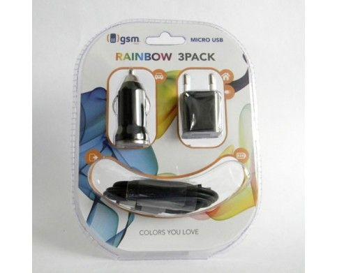 MicroUSB Negro Set Rainbow 3 en 1 | Set de accesorios para smartphone | incluye adaptador de carga para auto | adaptador de carga para casa y cable de datos MicroUSB, todo en color Negro | Disponible en nuestros puntos de venta y página web | www.gsmchile.cl