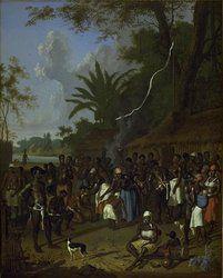 Schilderij van 18e eeuws Suriname door Dirk Valkenburg.