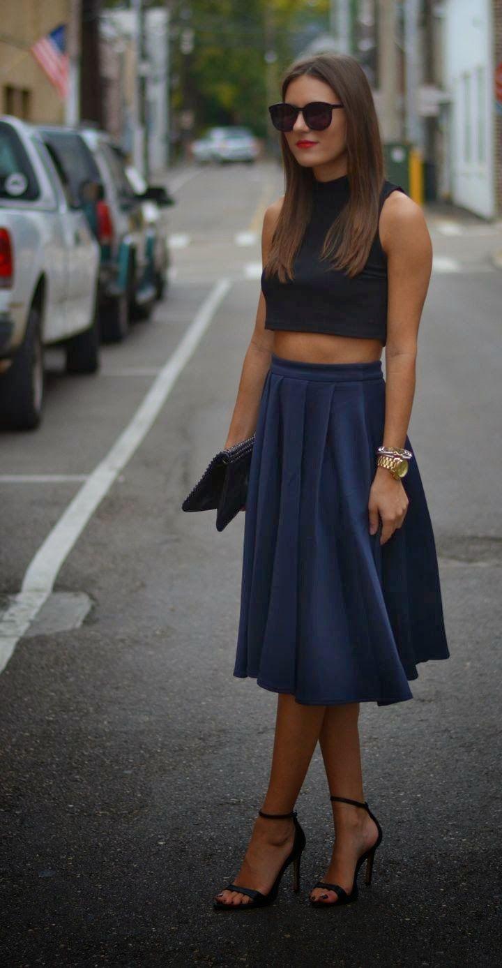 midi skirt, crop top. street women fashion clothing style apparel @roressclothes closet ideas