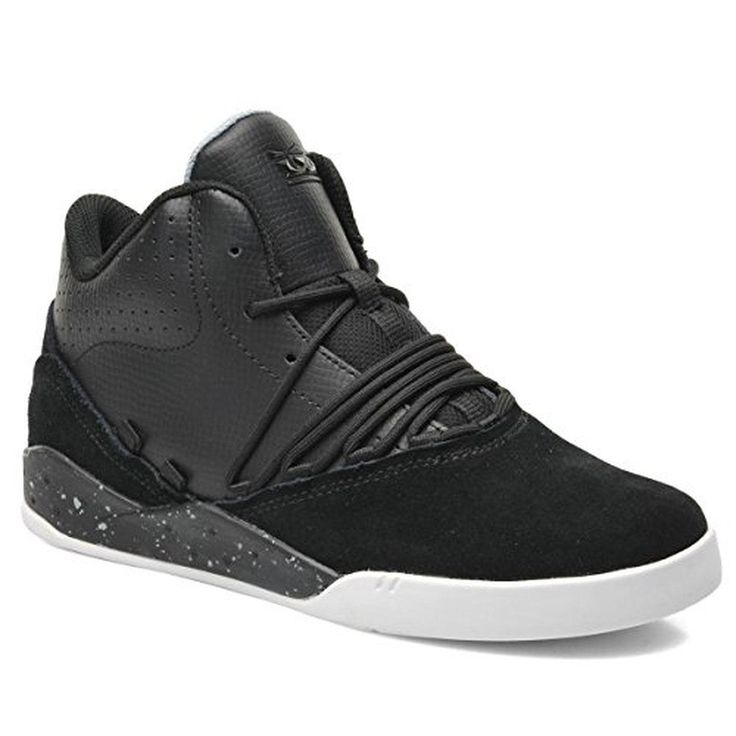 UK Shoes Store - Mens Supra Footwear Esteban Leather Speckle Sports Casual Mid Top Sneaker Shoes Bla