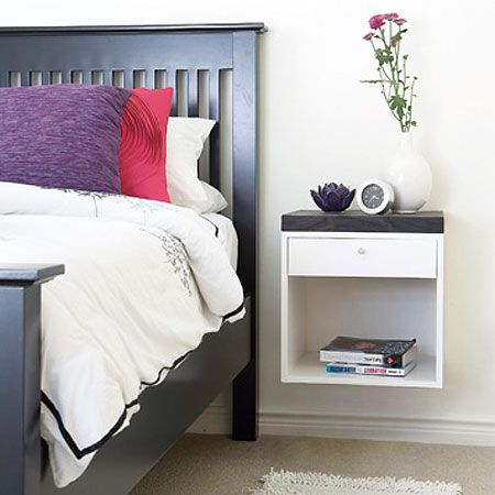 Home-Dzine - Home DIY: Wall-mounted bedside table - I think the idea of having a wall-mounted bedside table is great. It takes up less room than a free-standing bedside table, it's easier to clean the bedroom, and you can even use the space underneath for a storage basket if you need to. http://www.home-dzine.co.za/diy/diy-nightstand.htm#
