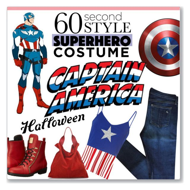 60 Second Style: Captain America by kellylynne68 on Polyvore featuring Glamorous, rag & bone, Giuseppe Zanotti, Jil Sander, Halloween, 60secondstyle and superherocostume