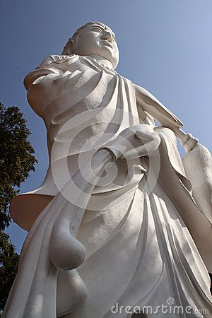 Statue of Guanyin Goddess or in Indonesian called Kwan Im Goddess standing at KTM Resort in Batam, Indonesia. Guanyin Goddess is the goddess of mercy in Budhism. The statue become one of tourists destination in Batam.