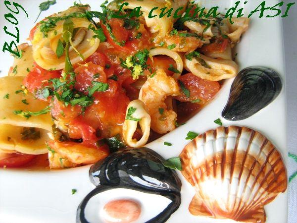 PACCHERI CON CALAMARI E MAZZANCOLLE Ricetta primo piatto di pesce