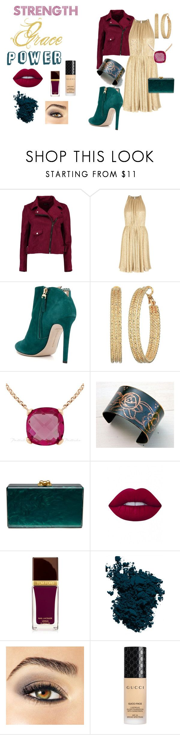 """""""Her Strenghts"""" by ktree5 ❤ liked on Polyvore featuring Boohoo, Halston Heritage, Chloe Gosselin, GUESS, Edie Parker, Lime Crime, Tom Ford, Laura Mercier, Avon and Gucci"""