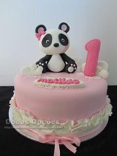 Doces Opções: Bolo de aniversário com uma Panda