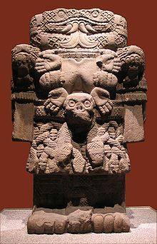 Aztec sculpture of Coatlicue, goddess of fertility, life, death and rebirth